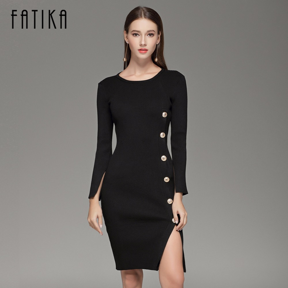 FATIKA Elegant Button up Split Knitted Bodycon Dress Women Black Long Sleeve Sexy Party Dresses Autumn Winter Warm Midi Dresses
