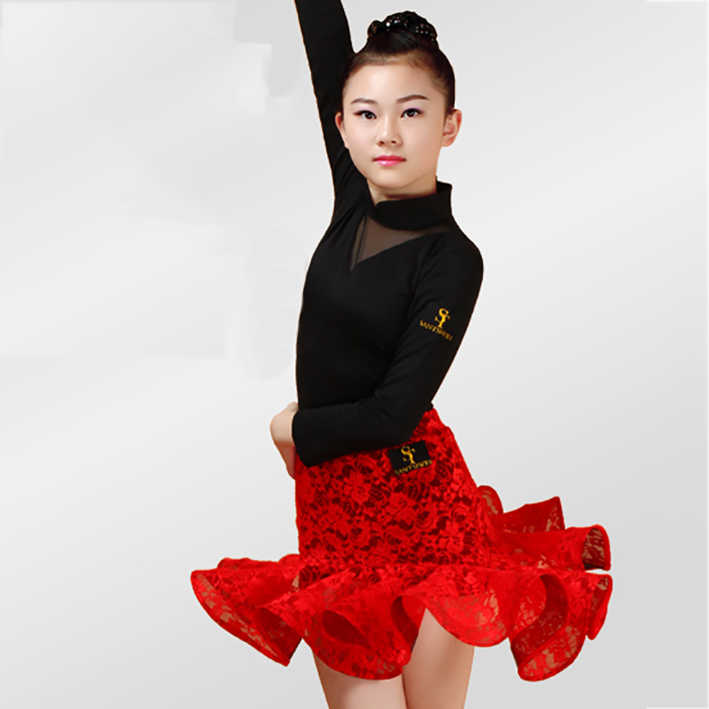 20ab9225a Sexy girl latin dance dresses for girl red brown black sleeveless clothes  children samba chacha schoolgirl examination suit b065