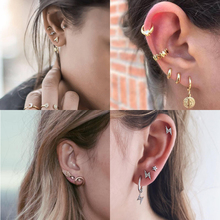 6 Styles Women Stud Earrings Geometric Metal Earring Set Fashion Jewelry Heart High Quality New Design Wedding Celebration