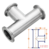 1pc KF25 NW25 Tee Vacuum Adapter 3 Ways All Ends Stainless Steel KF25 Quick Flange Fittings