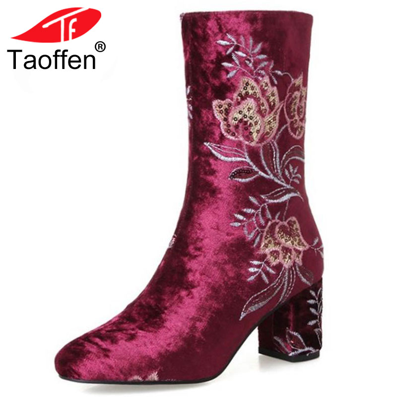 TAOFFEN Size 34-43 Women Real Leather High Heel Boots Flower Mid Calf Boots Women Warm Fur Shoes Winter Botas Women Footwears taoffen women genuine leather flats snow boots women metal buckle mid calf boots warm fur shoes for women footwears size 34 39