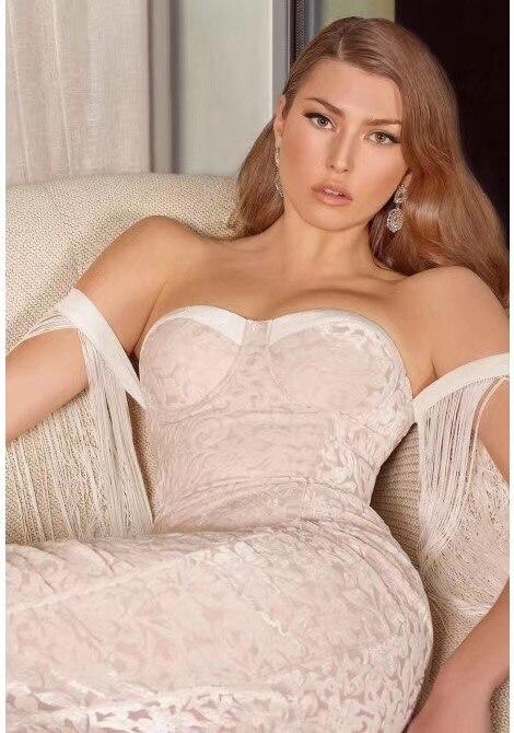 Nouvelle De Sexy Bandage Célébrité Mode L'épaule Hors Dames Blanc Couleur Gland Robe Hl Moulante 5cwxf8cRq4