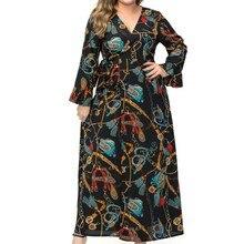 38be07d9b 2019 Primavera Tamanho Grande Imprimir Nova Moda Muçulmano Chiffon Vestido  Longo Com Decote Em V Plus Size Solto 6xl Senhoras Ma.