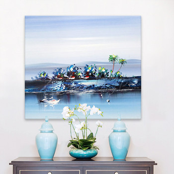 Hand painted boat Canvas Oil painting Wall Pictures for Living room wall decor art canvas painting palette knife boat seascape 1