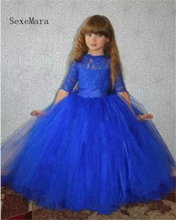 цена на Royal Blue Half Sleeve Flower Girls Dresses for Wedding Lace Ball Gown Ankle Length Customized Girls Pageant Gown Birthday Dress
