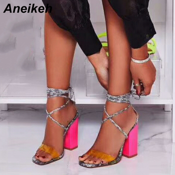 Aneikeh 2019 Summer PVC Gladiator Sandals Women Open Toe Ankle Strap Lace Up High Heels Pumps Fashion Party Dress Women's Shoes