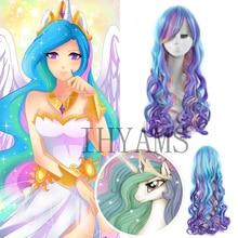 Pelucas onduladas sintéticas de moda de alta calidad, peluca de Cosplay de princesa Celestia de My Little Pony, pelo largo rizado con arco iris