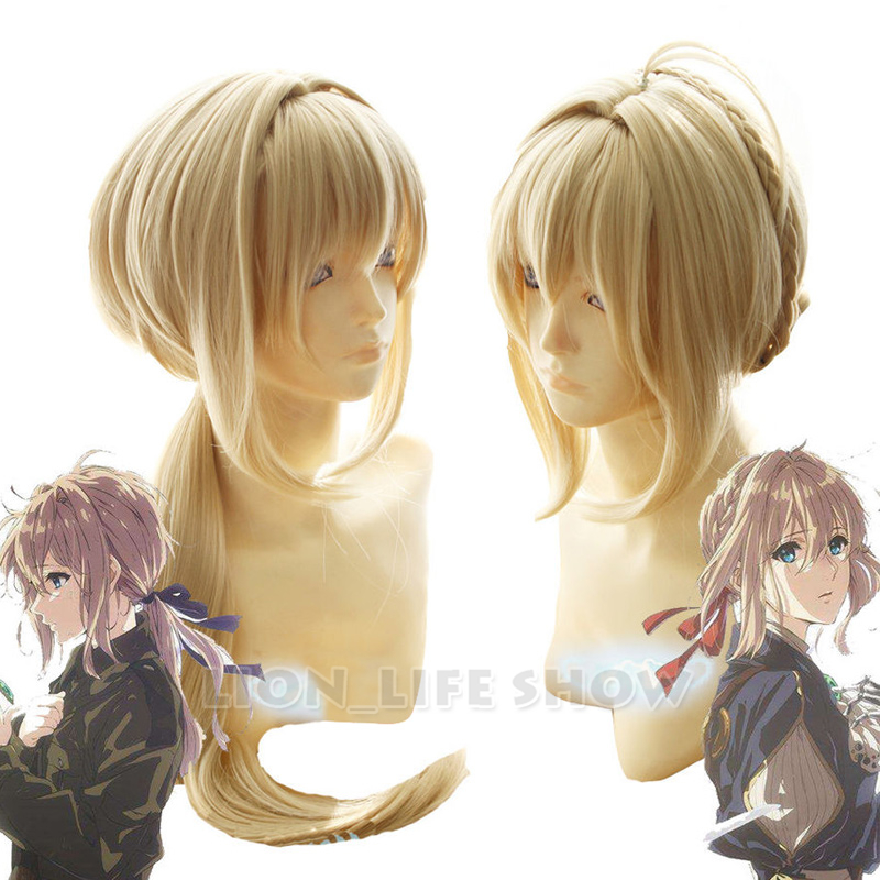 Violet Evergarden Longue Queue Tresse Chignon Frange Blonde Perruque Cosplay Perruques