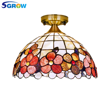 SGROW European Red Shell Ceiling Light for Bedroom Living Room Dinning Room Classical Aisle Light Fixture with E27 Bulb Lampara