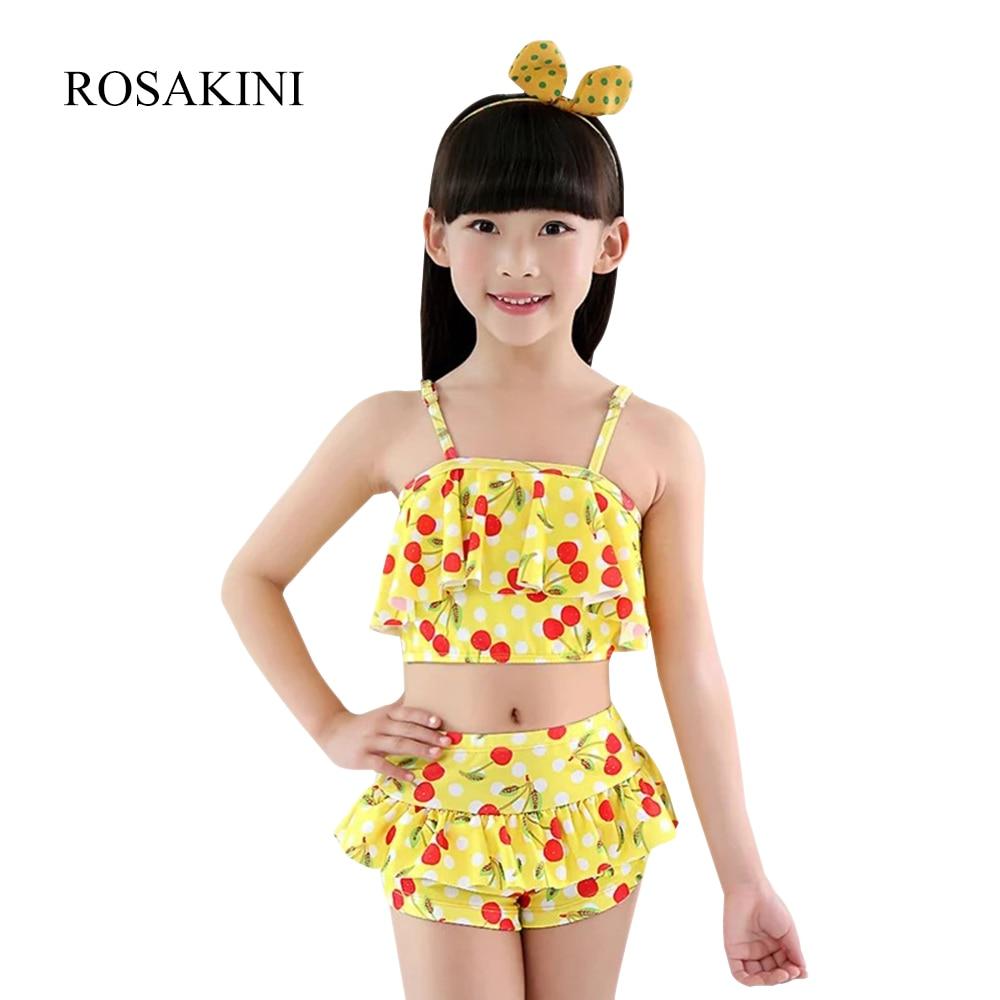 Rosakini Baby Girls Lovely Cherry Print Swimwear Summer Beach Toddler Bathing Suit -9793