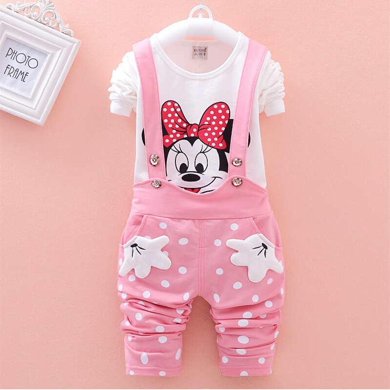 CNJiaYun Minnie Baby Girls Clothing Sets Spring Cotton Childrens Sets Full shirt Suspenders Pants 2 pieces Kids Clothes Set