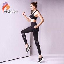 Andzhelika Yoga Broek Nieuwe Sport Sexy Uitgerekt Gym Kleding Heupen Push Up Running Panty Vrouwen Leggings Fitness Ademende Broek