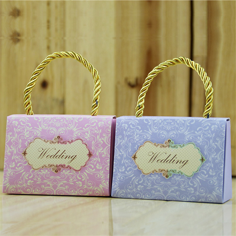 Wedding Return Gifts For Friends: 100pcs/lot Glam Handbags Design Blue Paperboard Candy Box