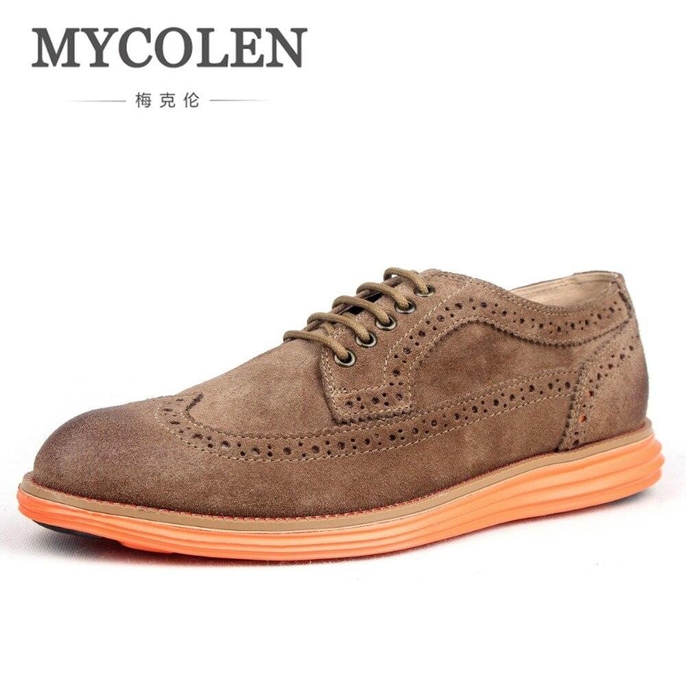 где купить MYCOLEN New 2018 Luxury Leather Brogue Mens Shoes Comfortable Casual British Style Men Fashion Brand Dress Shoes For Men дешево