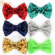 "30pcs/lot Chic 4"" Sequins Glitter Messy Hair Bow Barrette 2020 European DIY Handcraft Hair Accessories For Kids For Hair Clip"