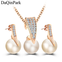 Fashion Imitation Pearl Jewelry Sets Rhinestone Gold Color Necklace Sets for Women Bridal Wedding Party Water Drop Earrings mecresh simulated pearl bridal jewelry sets silver color rhinestone party wedding necklace earrings sets christmas gift mtl469
