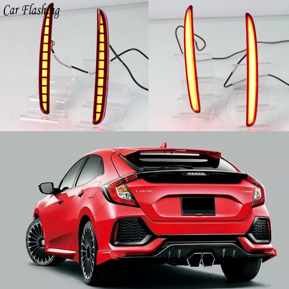 1Set Car LED Rear Fog Lamp Brake Light Reflector Bumper Light Auto Decoration Lamp For Honda Civic Hatchback 2016 2017 2018 2019