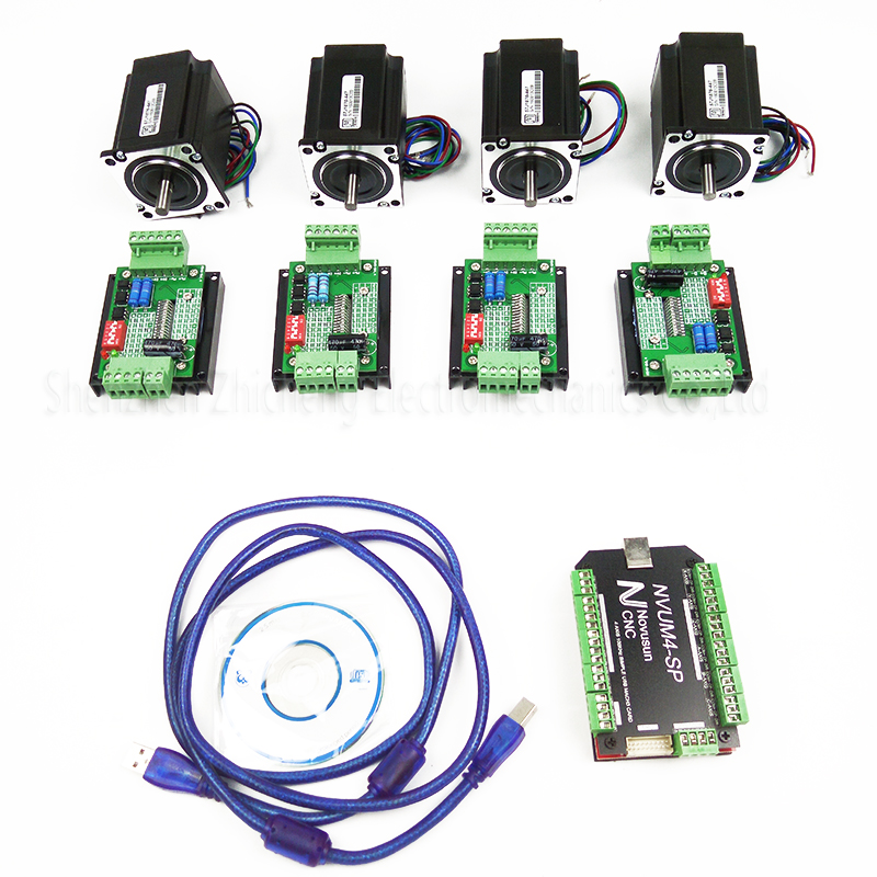 top grade CNC mach3 USB 4 Axis Kit, 4pcs TB6600 stepper driver+ mach3 USB stepper motor controller board+ 4pcs nema23 motor