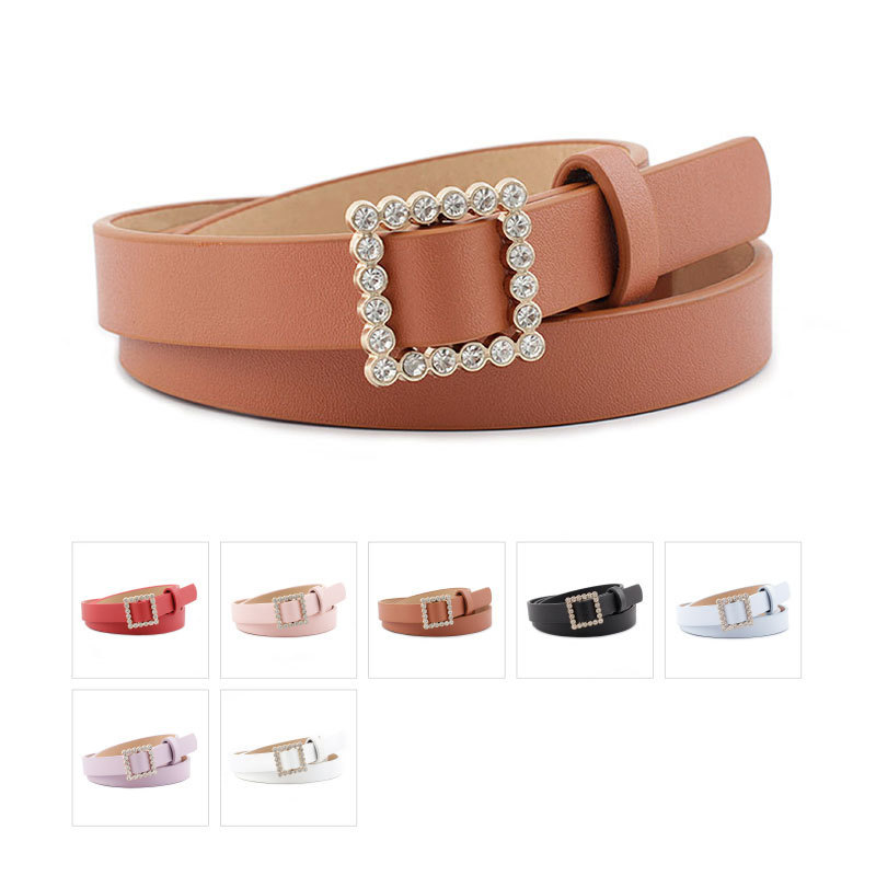 Leather Belt Women's Fashion Solid Color Belt Alloy Square Smooth Buckle Inlaid Rhinestone Decoration Sweet Style Belt Women