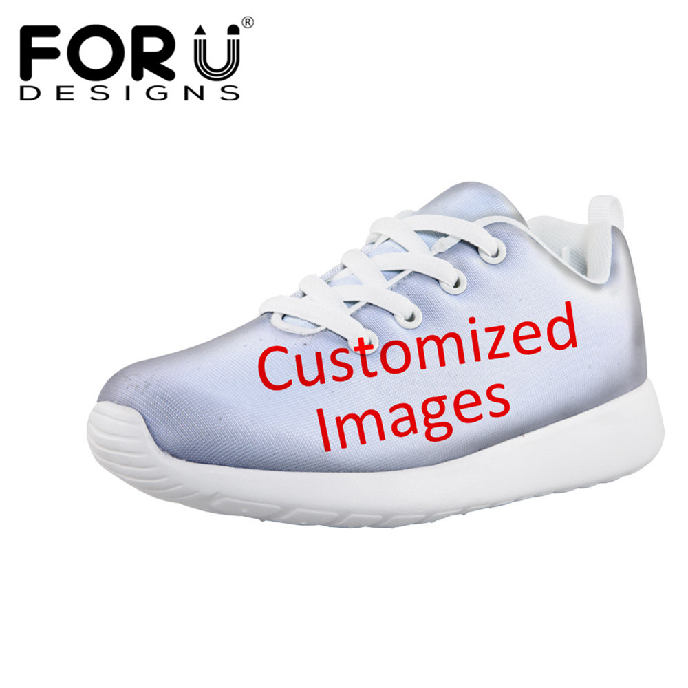 FORUDESIGNS Custom Images or Logo Children Casual Shoes Flats Kids Sneakers Comfortable Lace up Girls Boys