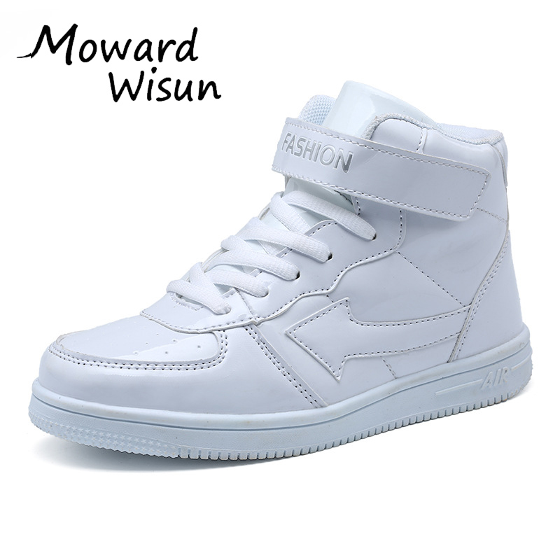 Classic Solid White Children Sport Shoes For Kids Boys Girls High Cut Fashion Non-Slip Sneakers Baby Boys Girls Shoes Size 31-38