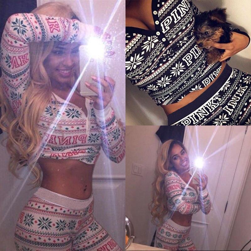 Pcs Set Lady Women Christmas Pajamas Sleepwear Nightwear Pyjamas Women Cotton Clothes Set In Pajama Sets From Underwear Sleepwears On Aliexpress Com
