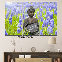 Canvas Painting Buddha in Lavender garden landscape 3 Pieces Wall Art Modular Wallpapers Poster Print Home Decor