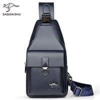 Men's casual chest bag with headphone hole PU leather shoulder crossbody bag iPad mini Bag male travel bag soft handbag