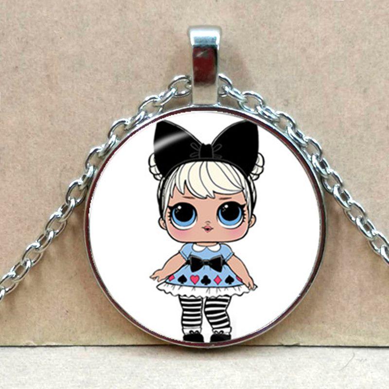 Мультяшное ожерелье с изображением куклы милое детское блестящее платье принцессы куклы стеклянные ожерелья аниме для детей подарок на день рождения - Окраска металла: Silver 3