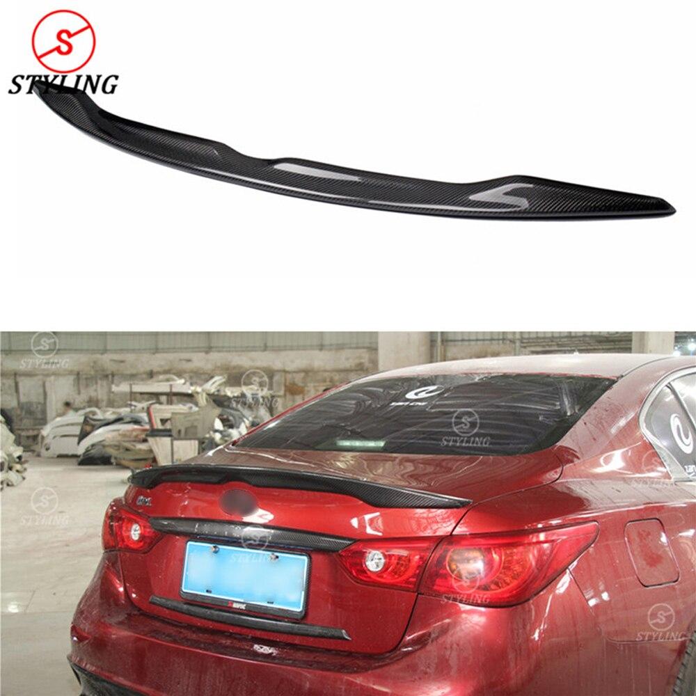 For Infiniti Q50 Carbon Fiber Rear Spoiler Q50 Q50S Carbon Fiber rear spoiler Rear Bumper trunk wing car styling 2014 - UP все цены