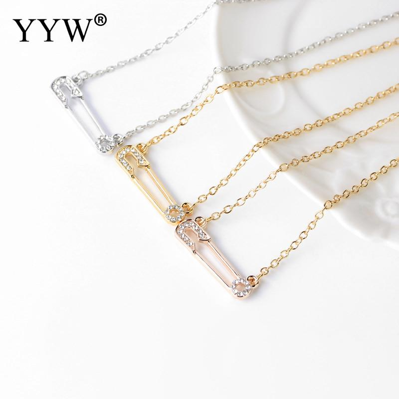 Jewerly Necklace Safety Pin Pendant Necklace Oval Chain with Rhinestone For Women
