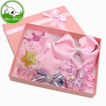 9 sztuk Cute Baby Girl łuk dla zwierząt klipy księżniczka korona serce królik gwiazda kwiat kształt kokardy do włosów akcesoria pies kot nakrycia głowy yorkshire