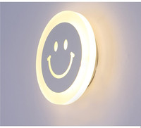 Modern Creative Smile Face Wall Lamp For Bedroom Corridor Hotel 7w Super Bright Acrylic Indoor