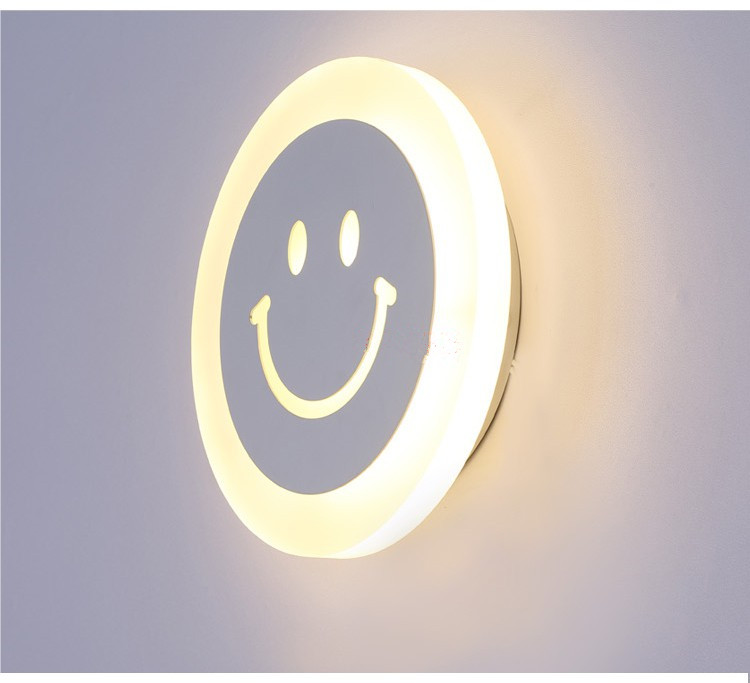 Modern creative smile face wall lamp for bedroom corridor hotel 7w Super Bright Acrylic indoor led wall lights for home 2016 new modern fashion free shipping multi color acrylic sunflower led wall lamp for bedroom hallway corridor