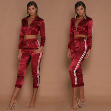 Hot Fashion women's casual Crop Top+cropped trousers two piece set Sexy cropped trousers Sporty leisure suit цены онлайн