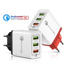 18W Quick Charge 3.0 Fast USB Charger For iPhone 8 XS Samsung Xiaomi huawei Travel Wall EU US Plug Mobile Phone Charger adapter usb charger eu us plug 3 ports quick charge fast charging mobile phone charger for iphone x samsung xiaomi huawei travel charger