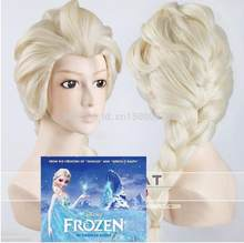 Wig New Elsa Queen Blonde Weaving Braid Cosplay Wigs Free Shipping(China)