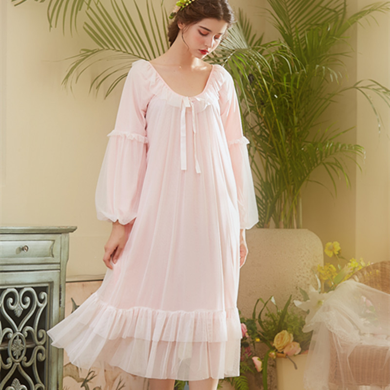Spring Long   Nightgowns   Women   Sleepshirts   Modal Nightdress Palace Princess Sleeping Dress Sleepwear Lantern Sleeve Ankle-Length