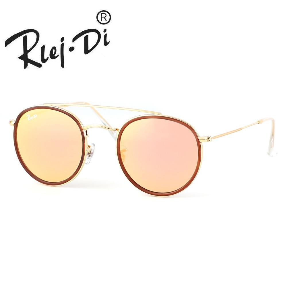 Fashion Women Round Metal Style Sunglasses Classic Vintage Brand Design Sun Glasses Retro Glass Lens Mirror Ladies Shades UV40