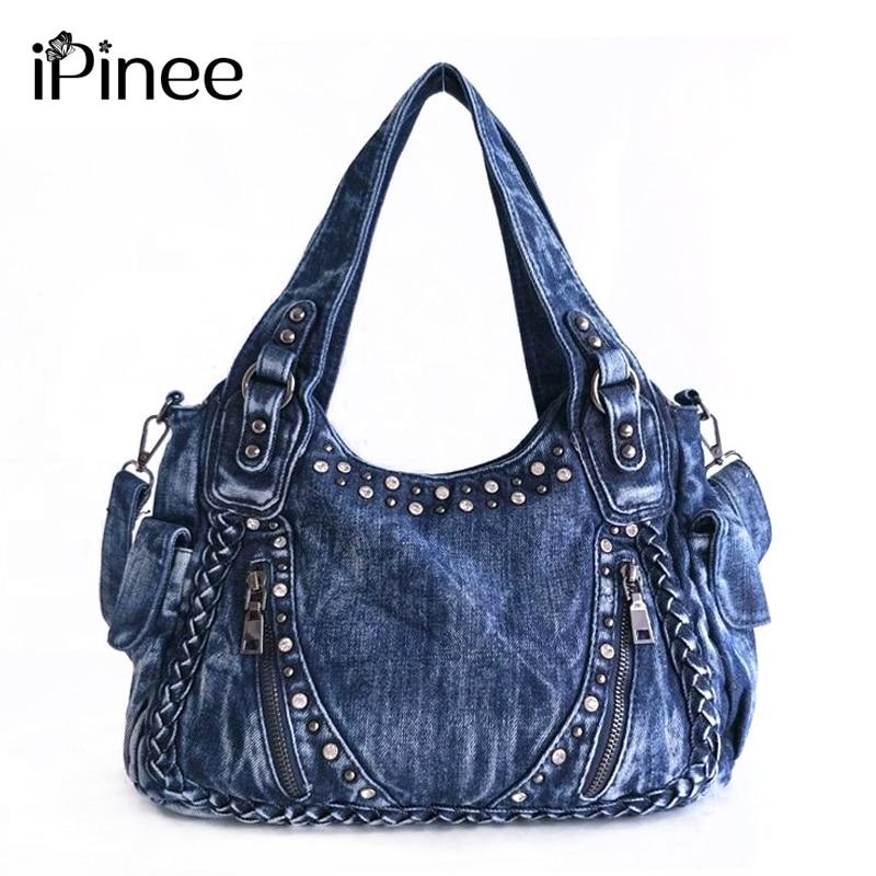 iPinee Brand Women Bag 2019 Fashion Denim Handbags Female Jeans Shoulder Bags Weave Design Women Tote