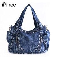 IPinee Brand Women Bag 2017 Fashion Denim Handbags Female Jeans Shoulder Bags Weave Design Women Tote