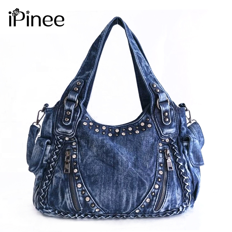 iPinee Brand Women Bag 2017 Fashion Denim Handbags Female Jeans Shoulder Bags Weave Design Women Tote Bag sokotoo men s colored painted snake 3d print jeans fashion black slim stretch denim pants