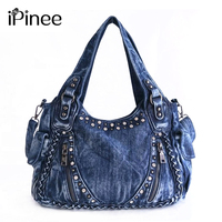 iPinee Brand Women Bag 2019 Fashion Denim Handbags Female Jeans Shoulder Bags Weave Design Women Tote Bag