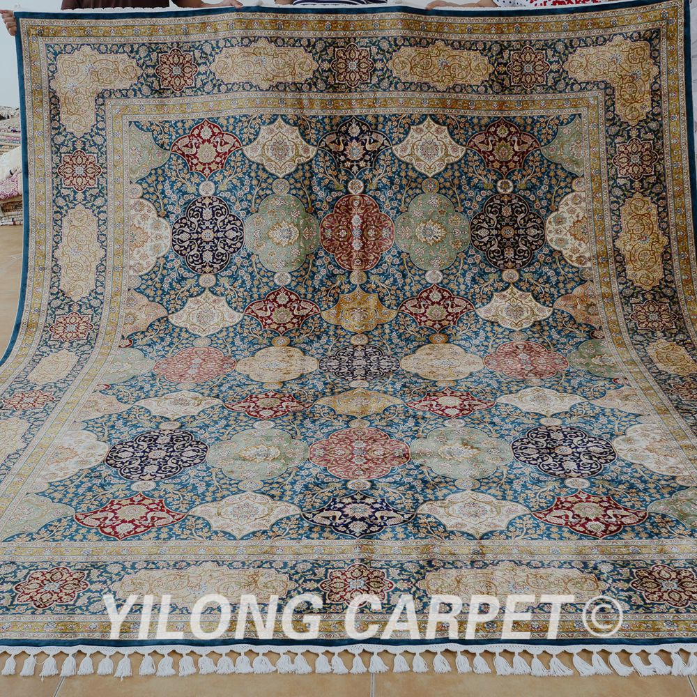 Yilong 8.5'x10.2' Persian Oriental Rug Large Antique Green