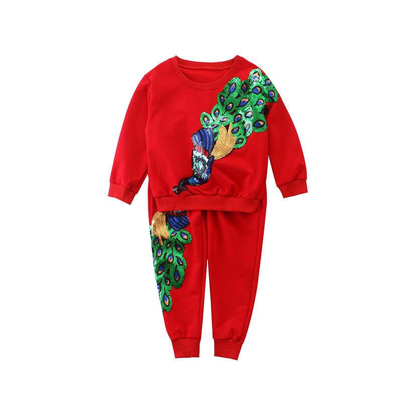 f0a41676f Spring Fall Children Girl Tracksuit Peacock Sequined Long Sleeve Sweatshirt  + Pants Kids 2 Pcs Girls
