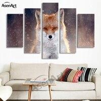 5 Pannello di Wall Art Fox Pittura Picture Stampa su Tela Pittura animale Immagini A Parete per Soggiorno Modern Home Decor No Frame