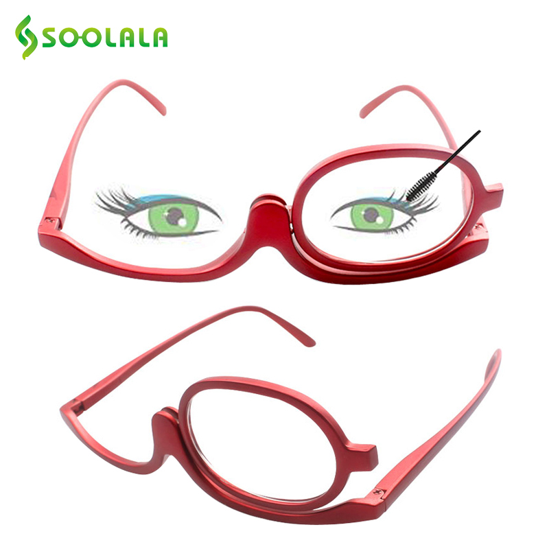 SOOLALA 180 Grad Make-Up Lesebrille Monokulare Kosmetik Brille Mode Frauen Brille mit Einem Flip Up Linsen