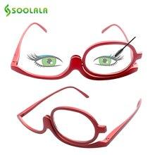 SOOLALA 180 Degree Rotating Makeup Reading Glasses Monocular Cosmetics Glasses Fashion Women Glasses with One Flip Up Lenses