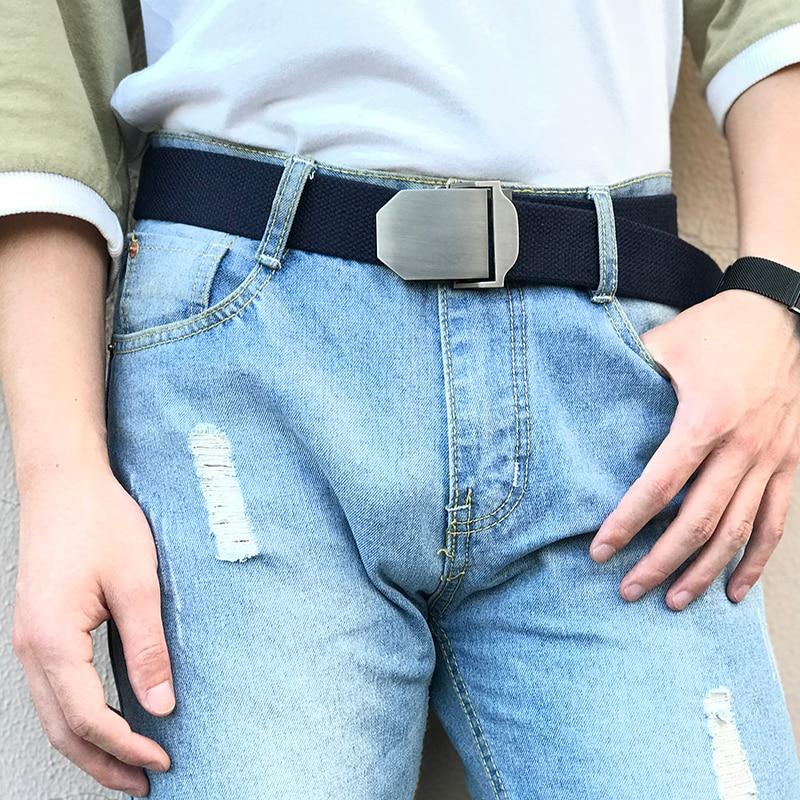 2018 New Wide Canva   belt   Men Metal Buckle Canvas strap White   belt   Brand Tactics Woven   belt   For Jean Waistband Thicken 110-160mm
