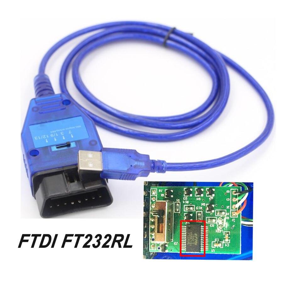 Ftdi ft232rl ft232rq chip carro auto obd2 cabo de diagnóstico para vag usb para fiat vag interface usb ferramenta de varredura ecu 4 vias interruptor